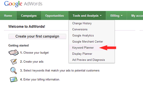 آموزش Keyword Planner گوگل AdWords